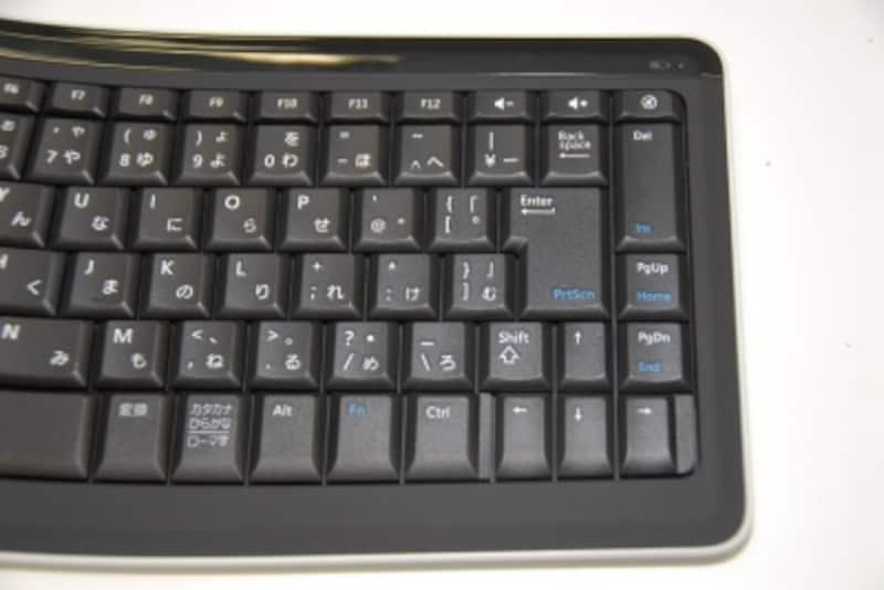 PgUp、PgDnキーなどはEnterキーの右側に配置されている。HomeキーなどはFnキーとの組み合わせで利用する