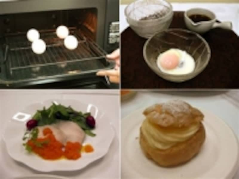 卵を殻のままレンジに入れる光景にはびっくり。温泉卵やチキンハムは低温水蒸気、シュークリームは過熱水蒸気と、水蒸気が大活躍