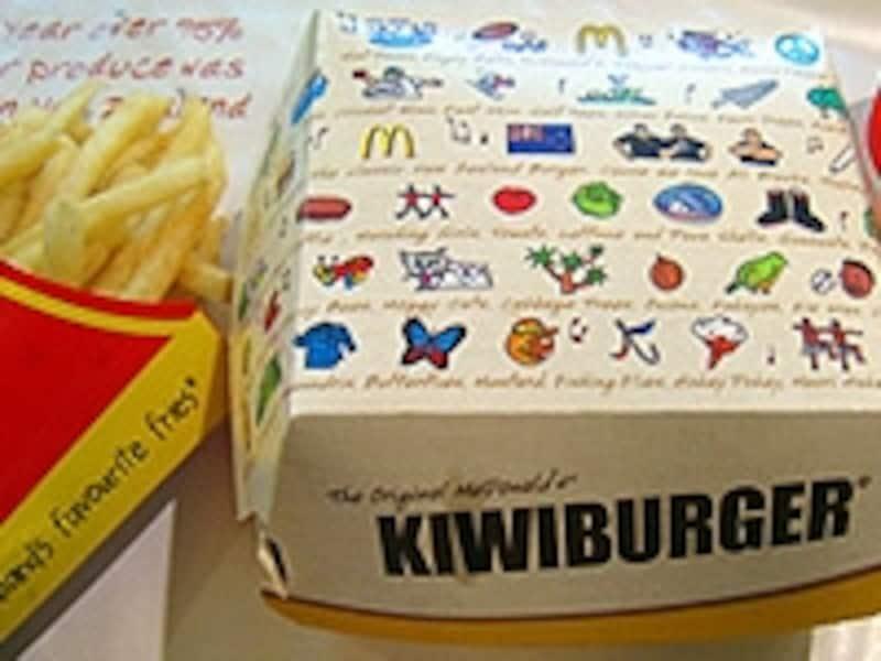 キウイバーガーはパッケージにもニュージーランド人の大好きなものが印刷されている
