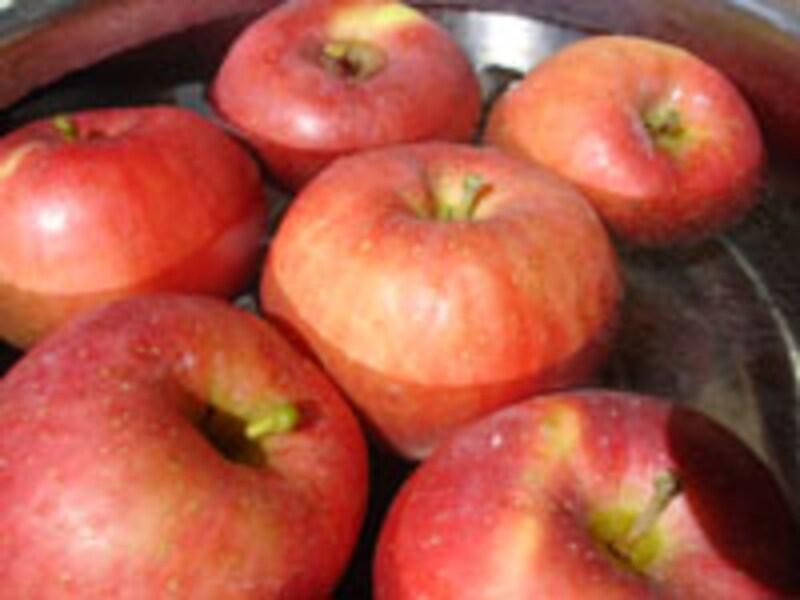 ハロウィン一色!リンゴは軸の長いものが使いやすい。日本のリンゴは少し大きめ。