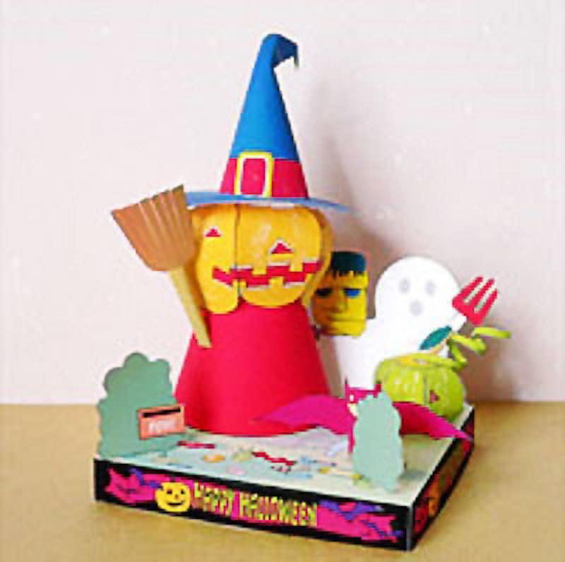 ガイドによる試作品。かぼちゃの顔と帽子の接着以外はとっても簡単笹徳印刷オリジナルペーパークラフト