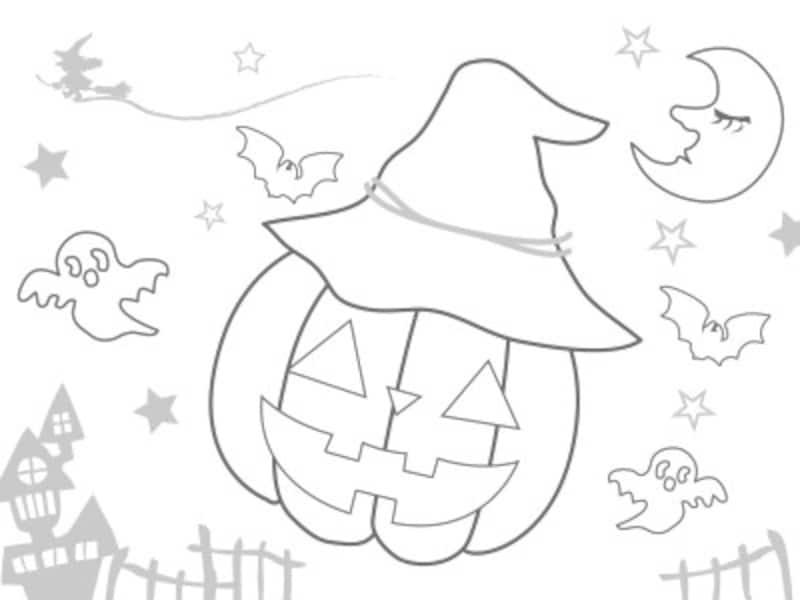 ハロウィンぬりえ素材無料ダウンロード