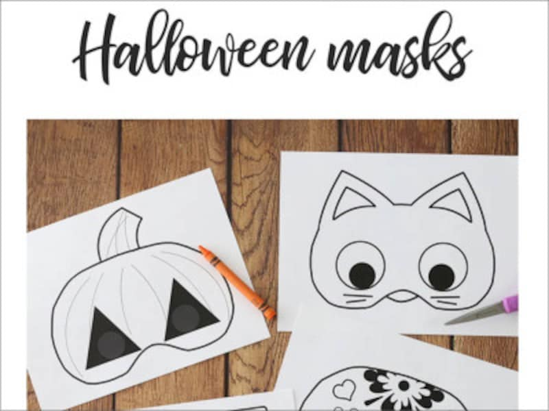 ハロウィンのお面無料ダウンロード  It's Always Autumn Halloween Masks to Print and Color