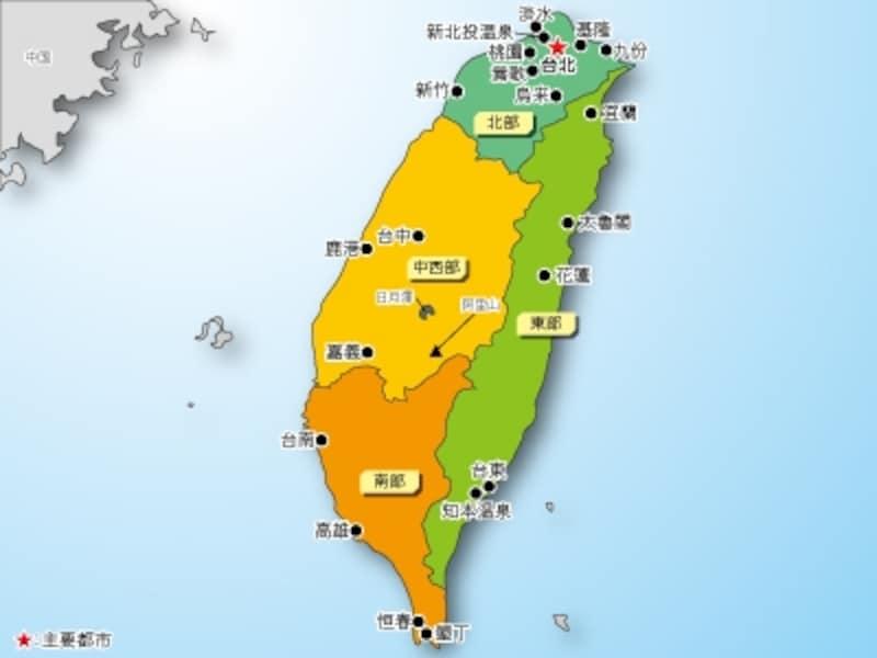 台湾の面積は九州を少し小さくした大きさで、人口は約2306万人です