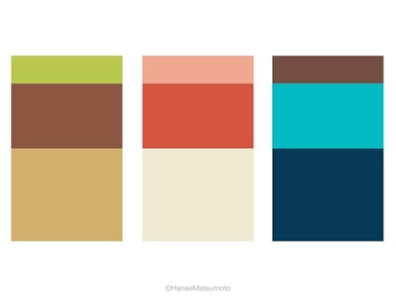 オータムタイプの女性におすすめしたい、基本スタイルの配色例