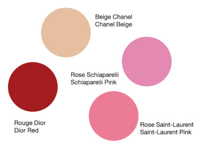 左から、ディオール・ルージュ、ベージュ・シャネル、ローズ・サンローラン、ローズ・スキャパレリ
