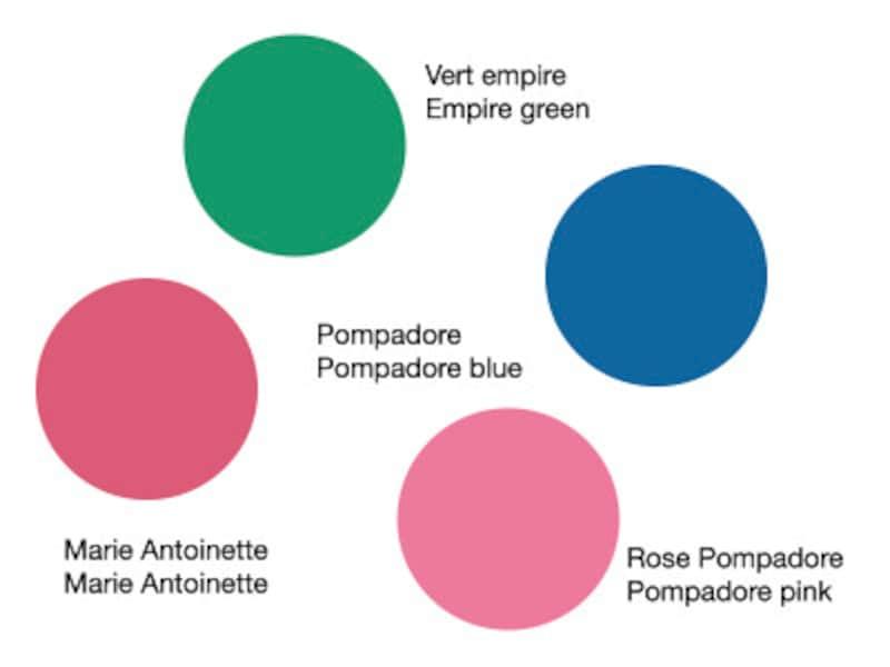 左から、マリー・アントワネット(王妃マリー・アントワネットのピンク)、ヴェール・アンピール(ナポレオン皇帝の緑)、ローズ・ポンパドゥール(ポンパドゥール公爵夫人に因んだピンク)、ポンパドール(ポンパドゥール公爵夫人に因んだ青)