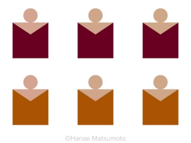 上段はマホガニー、下段はブラウン肌色は、左側はピンク系、中央はナチュラル系、右側はオークル系