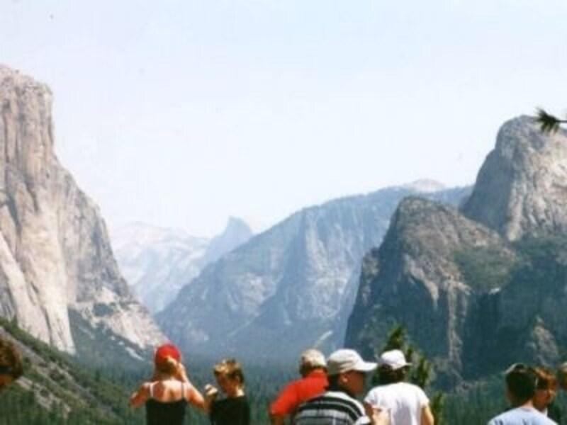 切り立った岩と緑の木々が特徴のヨセミテ国立公園