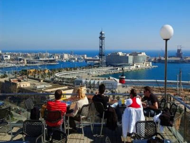 晴れた日の地中海の景色が素晴らしいモンジュイックの丘。