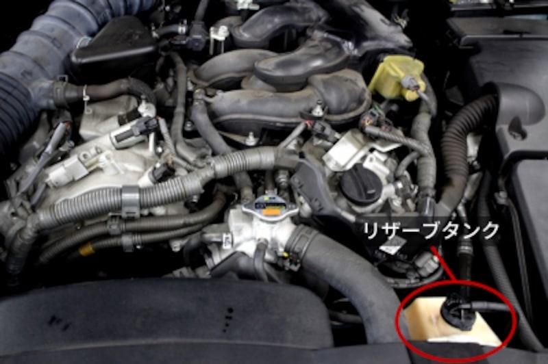 車の冷却水を点検・補充・交換する方法エンジンルーム内に設置されているリザーバータンク(リザーブタンク)