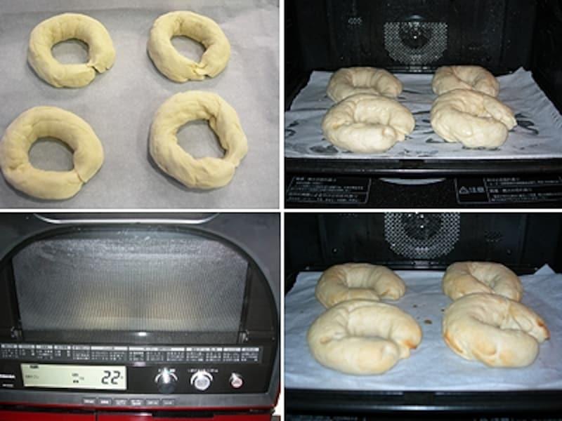 左上:一次発酵した後、成型したところ/右上:成型発酵終了/左下:オートメニューの「蒸し」工程の様子/右下:自動メニューで焼き終わったところ