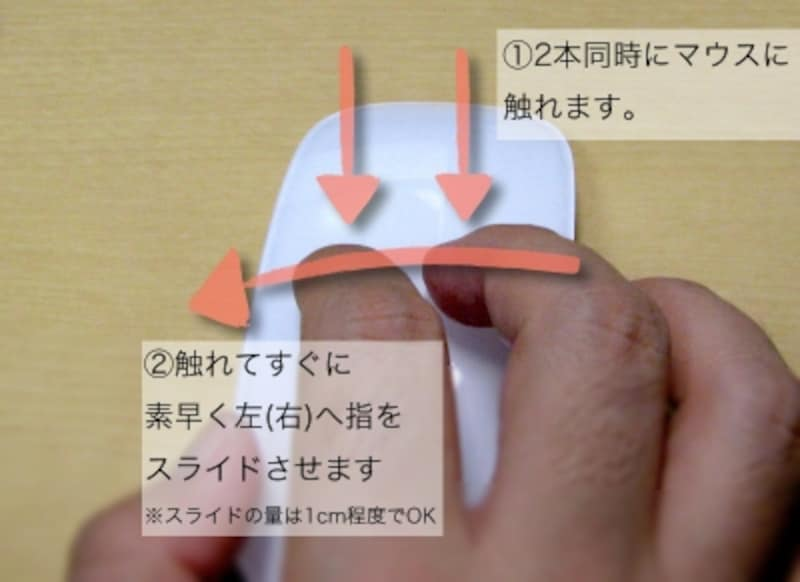 2つの指先を同時にマウス表面に当てるようにして左右にこすります。MagicMouseのセンサーはリンゴマーク上付近まで検出するようです(クリックで拡大)
