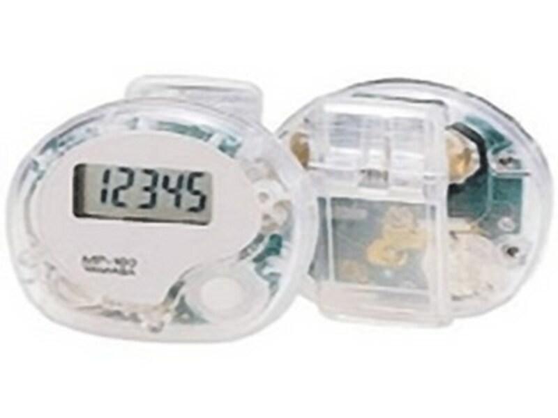 一般的な万歩計(歩数計)です。万歩計は山佐時計計器株式会社の登録商標なので、一般的には歩数計と言います。