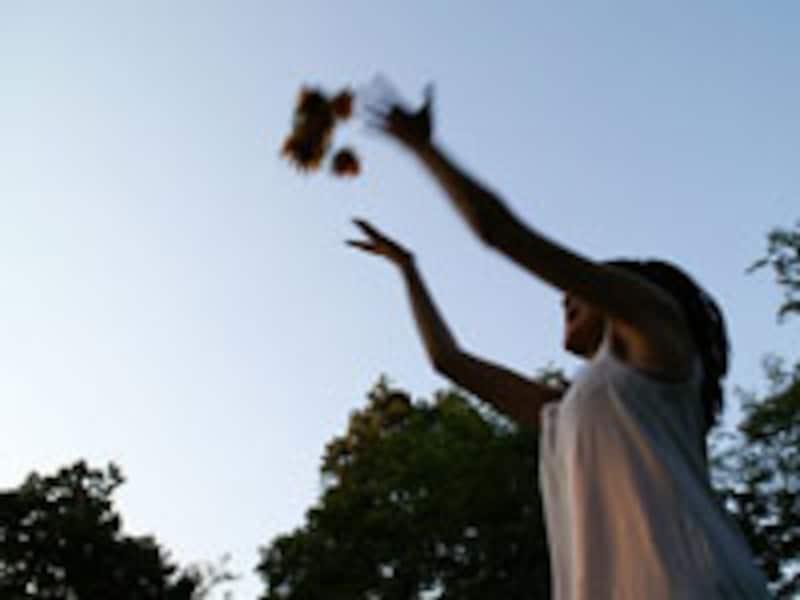 空に向かって鳥を放つ少女