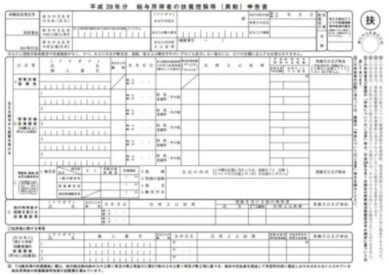 平成29年扶養控除等(異動)申告書フォーマット (出典:国税庁)