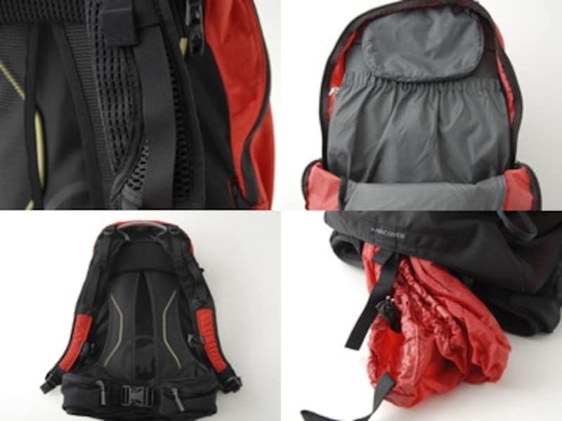 左上:異なる素材を用い、肩への負担を軽減したショルダーパッド部分。左下:背面部分には独自のベンチレーションを採用。右下:パックの底部にはレインカバーが収納されている。