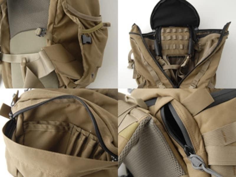 """左上:サイドのポケットにウエストベルトは収納可能。左下:リッドには細かな区分けが。右上:外側とインナーに設けられたテープ""""PALSウエイビング""""は、拡張パーツをつけるためのミリタリーディテール。右下:スムーズな開閉の止水ジッパー。"""