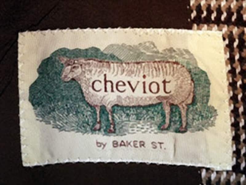 以前ベイカー・ストリートが発売していた高級ライン、チェヴィオットのタグ。おそらく服地にチェヴィオット・ツイードを使っていたのだろう。1980年代後半製。