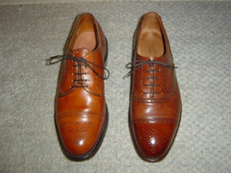 似て非なる靴をわざと並べてみました。左右で何が、違うでしょう?
