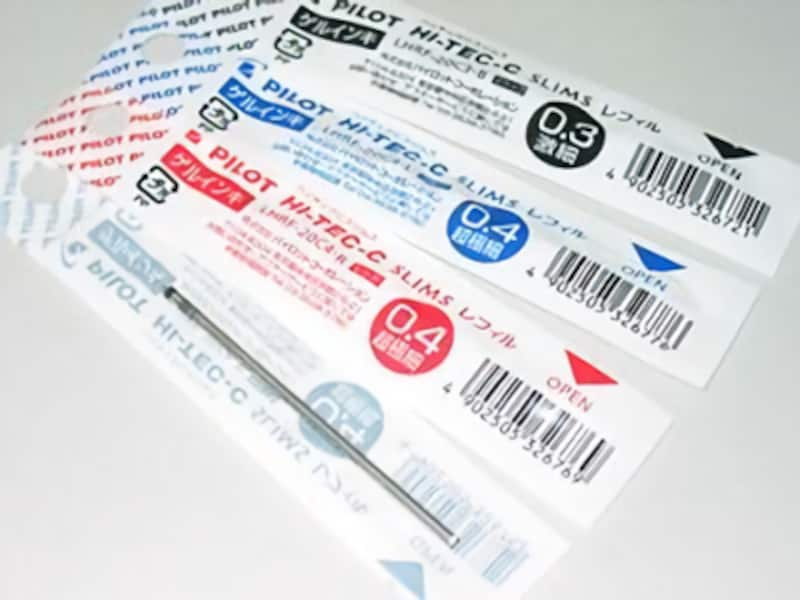 『パイロットハイテックCスリムスレフィル』各210円(税込)