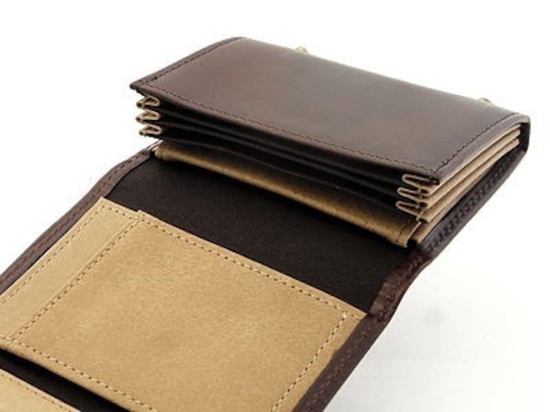 開くと、こんな感じ。紙幣を下に敷くように入れるスタイル。