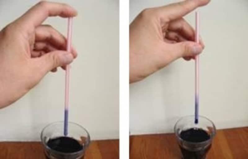 ストローの穴を指でフタをした状態だと水は落ちないが、フタをはずすと空気が入って水は流れ出る