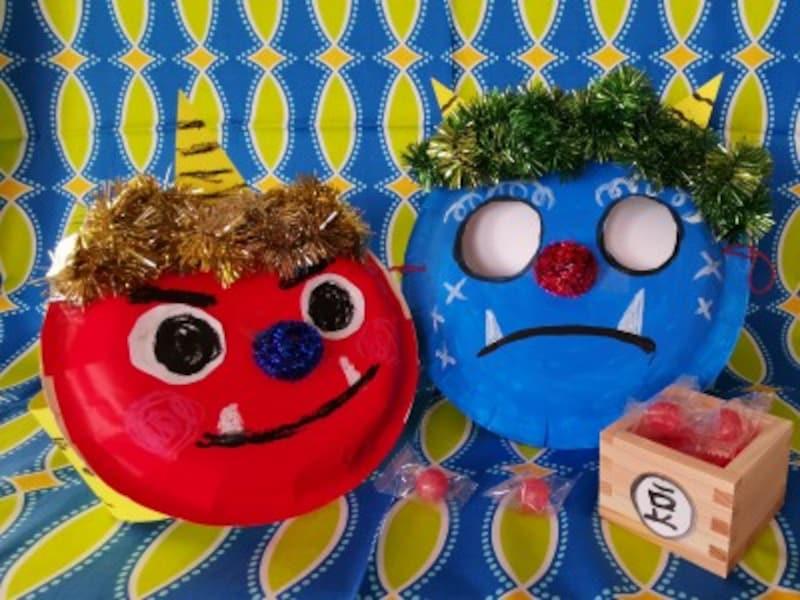紙皿で鬼のお面を製作!乳児・幼児(1歳2歳3歳4歳5歳6歳)向け節分工作