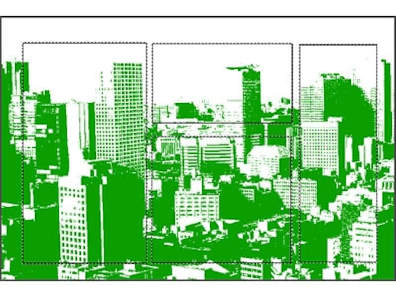 「描画色」を「赤」、「背景色」を「白」に設定。「グラデーション」のプリセットから「描画色から背景色へ」をダブルクリック。