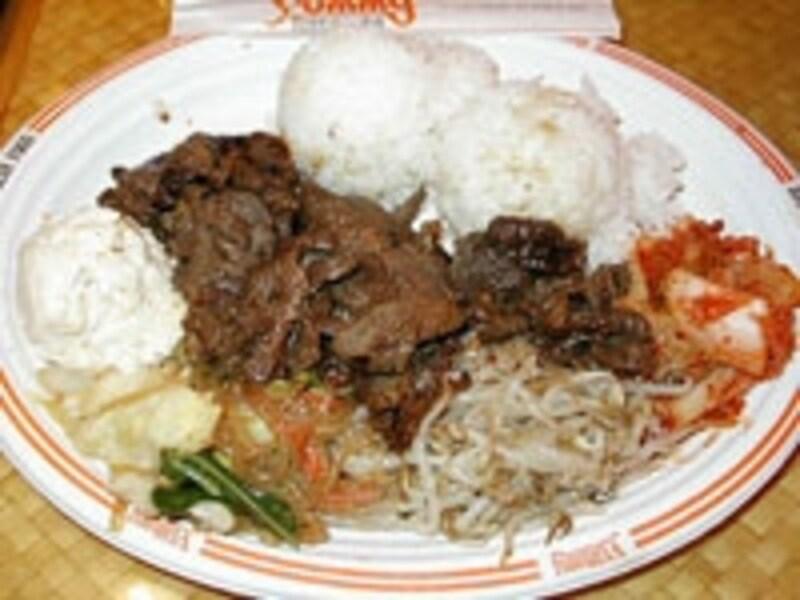 韓国焼肉のプレート。一般的なプレートランチは7~9ドルが目安