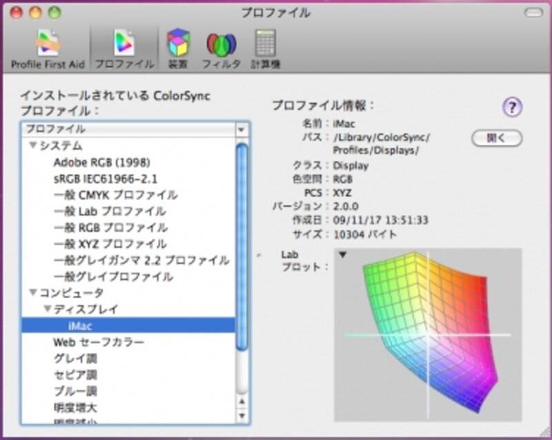 ColorSyncユーティリティによるiMacディスプレイの色空間、sRGBを完全に超えています(クリックで拡大)