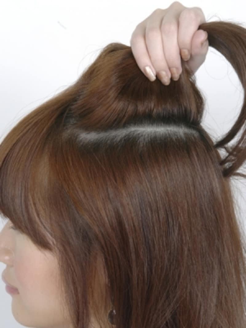 こめかみ部分の髪を分けとる