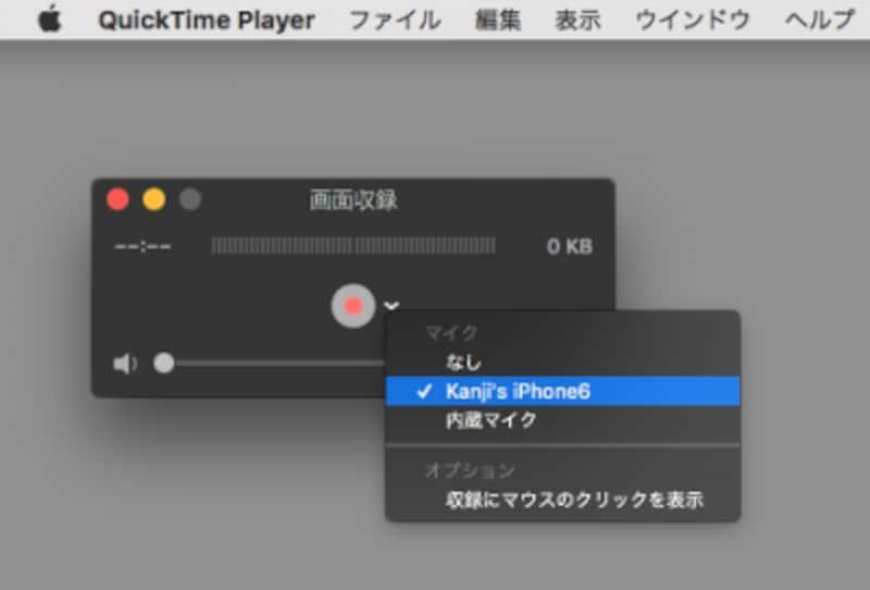 画面収録では、マイク音声や外部音源しか選択できない(クリックで拡大)
