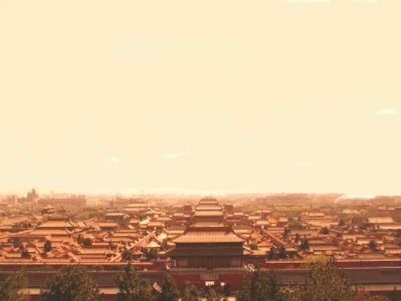 左右対象に広がる故宮の屋根