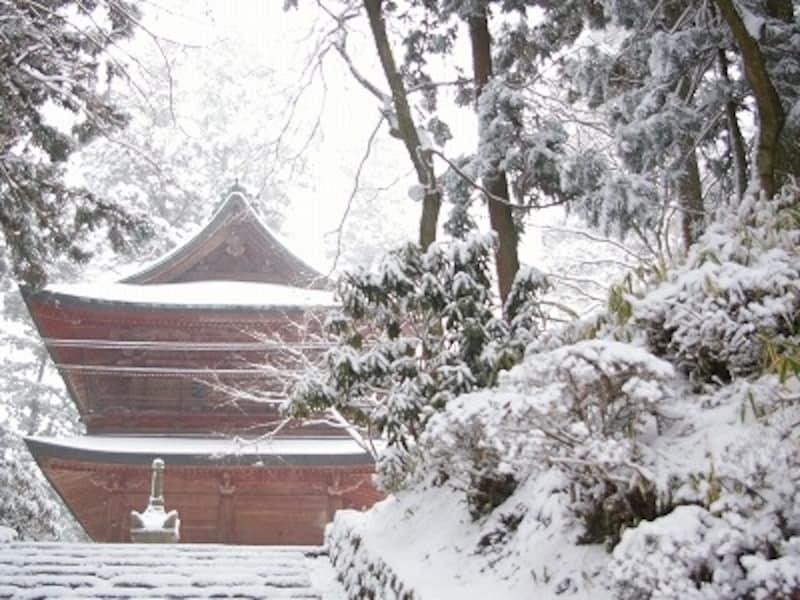 雪に包まれる比叡山延暦寺。たいへん寒いが美しい