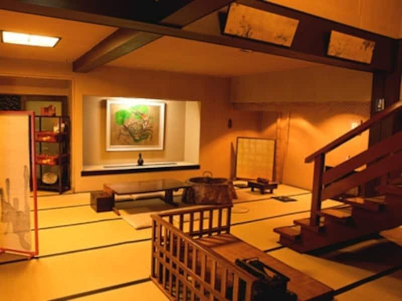 帳場の右奥の階段を昇って各客室へ
