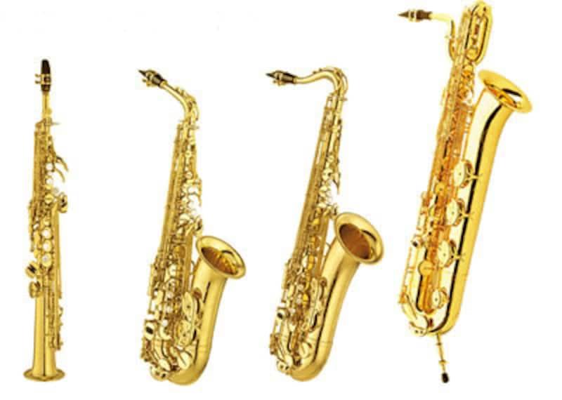 サックス左からソプラノ、アルト、テナー、バリトン。いずれもモダンジャズでは重要な役割を果たす木管楽器だ。