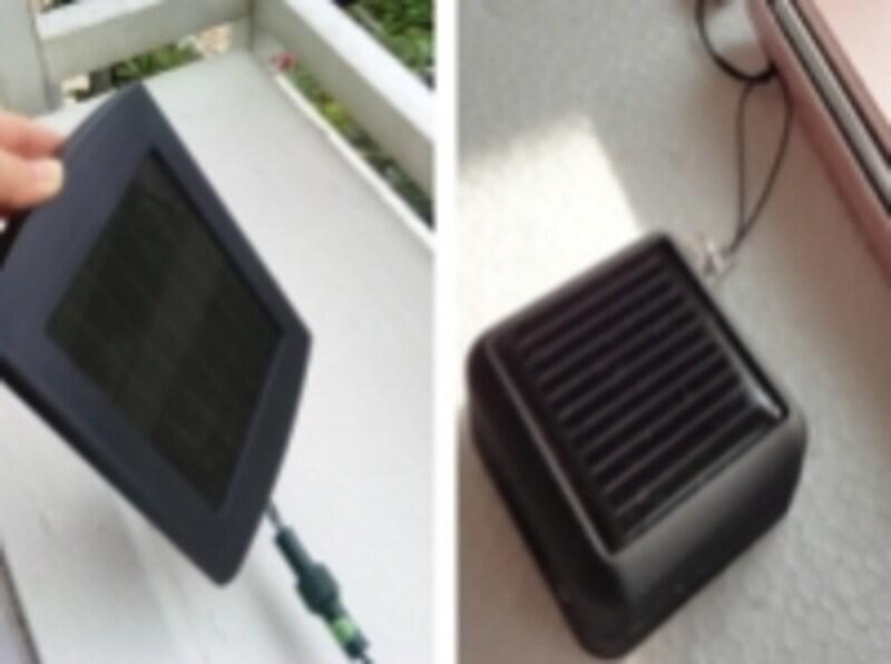 分離型のソーラーパネルと携帯電話用のソーラー充電器