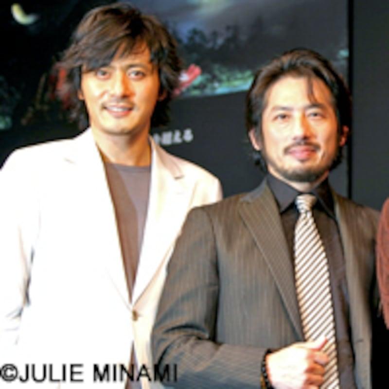 『PROMISE』来日会見-写真はチャン・ドンゴン[張東健]、真田広之、チェン・ホン[陳紅]、チェン・カイコー[陳凱歌]