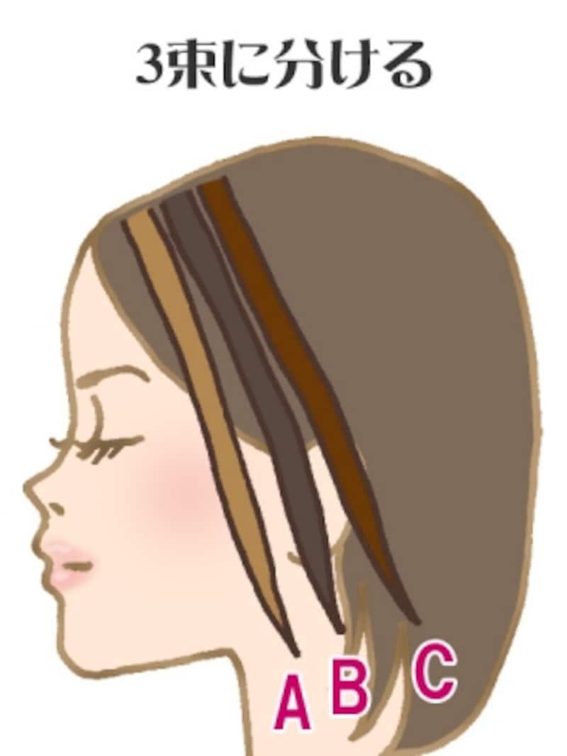 1.毛束を3つに取りわける