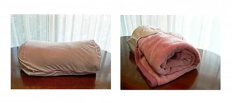 毛布用ネットの、毛布を丸めて入れるタイプ。ネットの中の毛布は右写真のような状態。たたんだ幅とネット幅が合うよう作られています