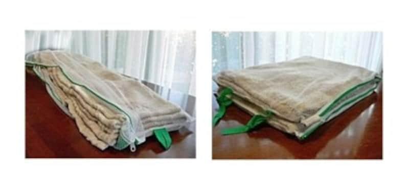 毛布用ネットの、ひだ状にたたんで入れるタイプ。ネットごと半分折りにして固定します。たたんだ様子が右写真。丸型より多くの面が洗剤水に触れるメリットがあります