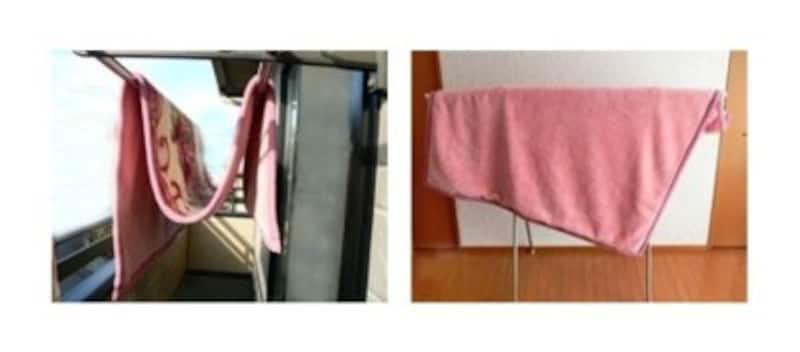 左:M字に干す方法。「M」になりにくかったら、端っこや真ん中の凹みに重りをぶら下げても。右:斜めにずらして干す方法。こちらも固定しにくければ洗濯バサミや重りをつけても○