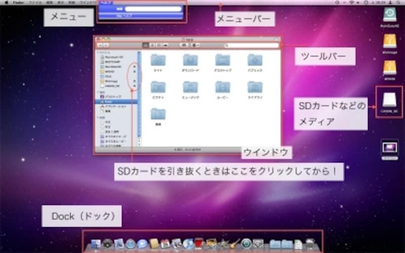 上記以外の説明については、Macヘルプで「テスクトップ」により検索すると見つかります(クリックで拡大)
