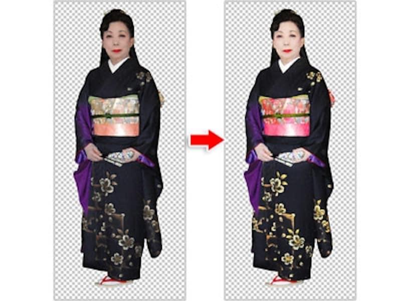 補正前(左)と補正後。着物や髪の毛の色が白くならずに、肌や着物の柄だけを思い通りに明るく鮮やかに補正しています。