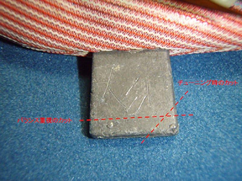 エギのバランスを崩したくないときは全体、もしくは下部のみを削る。頭が下を向きすぎる場合などは前寄りを削ることで調整できる