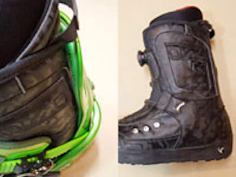 スノーボードブーツは元々少し前傾して作られています。はじめはブーツの傾斜に合わせる程度に少し傾けてみましょう