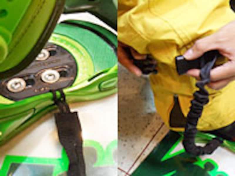 左・小さな輪の方をバインディングの前足内側へ。右・大きな輪の方を前足膝下につけます