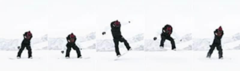 後ろ足の踏み込みと同時に、上半身が伸び上がることで、ボードの反発がスムースに高さへと変わります。空中では伸び上がった上半身に両足を引き寄せることで、さらに高さが生まれます。