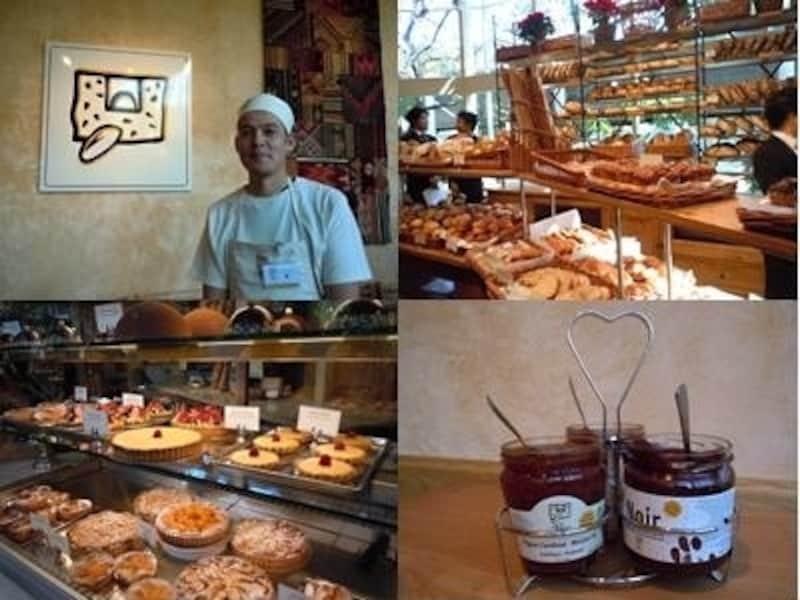左上から時計回りに、ベーカリーシェフの森和也さん、パン売り場、LePainQuotidienならではのセルフサービスのジャムとスプレッド、ペストリーコーナー